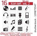 vector black music icons set   Shutterstock .eps vector #139875547