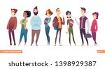 group of charismatic smiling... | Shutterstock .eps vector #1398929387