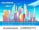los angeles city skyline with... | Shutterstock .eps vector #1398932771