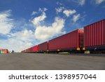 cargo train platform with...   Shutterstock . vector #1398957044