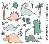 hand drawn dinosaurs and... | Shutterstock .eps vector #1398981011
