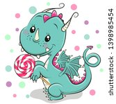 Cute Cartoon Dragon With...