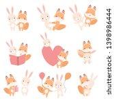 lovely white little bunny and... | Shutterstock .eps vector #1398986444