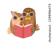 father owl reading book to his... | Shutterstock .eps vector #1398986474