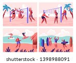 beach volleyball and surfing... | Shutterstock .eps vector #1398988091