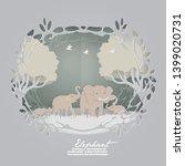 elephants family in the  forest ... | Shutterstock .eps vector #1399020731