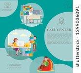 flat helpline service colorful... | Shutterstock .eps vector #1399036091