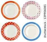 Set Of Color Plates With Polka...