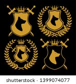 heraldic symbol icon set with... | Shutterstock . vector #1399074077