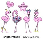 vector cute pink flamingos set... | Shutterstock .eps vector #1399126241