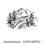 vector sketch of trees and... | Shutterstock .eps vector #1399139951