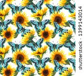 sunflower seamless pattern.... | Shutterstock . vector #1399143014