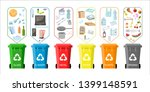 trash cans with sorted garbage... | Shutterstock .eps vector #1399148591