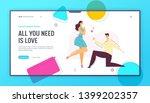 happy couple in love. man makes ... | Shutterstock .eps vector #1399202357