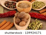 nutmeg and other spices on... | Shutterstock . vector #139924171