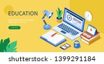 online education concept with... | Shutterstock .eps vector #1399291184