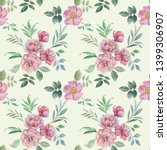 seamless watercolor flowers... | Shutterstock . vector #1399306907