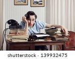 a bored office worker sitting... | Shutterstock . vector #139932475