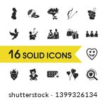 love icons set with search for...