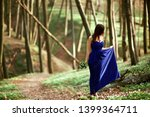 a girl in a blue dress with... | Shutterstock . vector #1399364711
