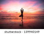 young woman yoga practice at... | Shutterstock . vector #139940149