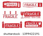 fragile  this way up  handle... | Shutterstock .eps vector #1399422191
