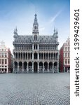 Small photo of Building called the King House or the Maison du Roi or the Museum of the City of Brussels on the main square Grand Place in Brussels on the background of clear sky, Belgium