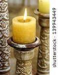 Golden Candle On Oriental...