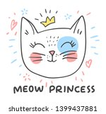 hand drawn cute cat girl face... | Shutterstock .eps vector #1399437881