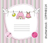 baby girl card. space for photo ... | Shutterstock .eps vector #139948114