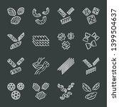 pasta noodles chalk icons set.... | Shutterstock .eps vector #1399504637
