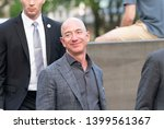 Small photo of New York, NY - May 15, 2019: Jeff Bezos arrives at the Statue Of Liberty Museum Opening Celebration at Battery Park