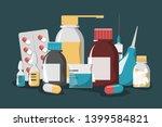 medicine set. drug bottle  pill ... | Shutterstock .eps vector #1399584821