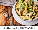 creamy whole wheat pasta with... | Shutterstock . vector #1399666091