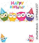 happy birthday with cute owl  | Shutterstock .eps vector #1399666157