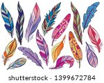 set of colorful bird feathers... | Shutterstock .eps vector #1399672784