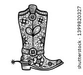 cowboy boot with floral pattern....   Shutterstock .eps vector #1399820327