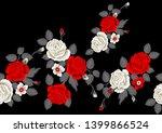 seamless rose flower border on... | Shutterstock . vector #1399866524