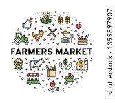 farmers market icon design set. ... | Shutterstock .eps vector #1399897907