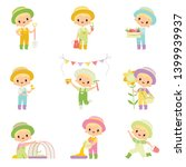 cute boy in overalls and rubber ... | Shutterstock .eps vector #1399939937