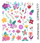 big flowers set. floral vector... | Shutterstock .eps vector #1399961777