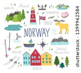 norway vector set. travel... | Shutterstock .eps vector #1399962584