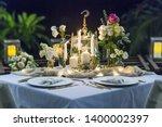 romantic wedding table top... | Shutterstock . vector #1400002397