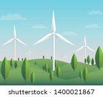 wind turbine on green mountains ... | Shutterstock .eps vector #1400021867