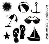 summer icons over white... | Shutterstock .eps vector #140008645