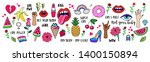 girl power set. fashion patch... | Shutterstock .eps vector #1400150894