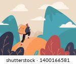 traveler with a backpack  bangs ... | Shutterstock .eps vector #1400166581