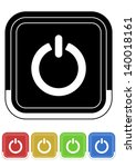 power button retro colors square | Shutterstock .eps vector #140018161