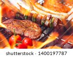 different food on grill with... | Shutterstock . vector #1400197787