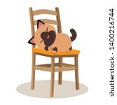 Stock vector a cute character of cat sleeping on the chair cat sleeping on the chair and it s look happy and 1400216744
